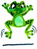 Jumping Frog - Water Color Painting Royalty Free Stock Photography