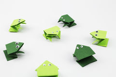 Jumping Frogs Origami Style Stock Images