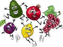 Jumping fruits cartoon illustration Stock Photo