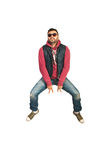 Jumping and gesturing rapper man Stock Photo