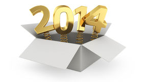 Jumping 2014. Gift box with golden digits 2014 on the white background Stock Image