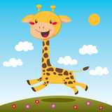 Jumping Giraffe Stock Image
