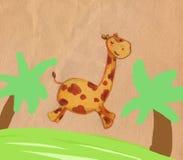 Jumping giraffe. A funny jumping giraffe in the jungle. Pastels and digital illustration Royalty Free Stock Photos
