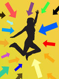 Jumping girl. Illustration of colorful arrows around a happy teenager Royalty Free Stock Photography