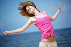 Jumping girl Royalty Free Stock Image