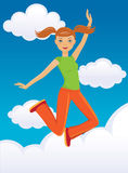 Jumping girl. Happy jumping girl on the skyline Stock Photography