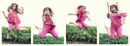 Jumping girl. Series of a little girl jumping in the air Royalty Free Stock Images