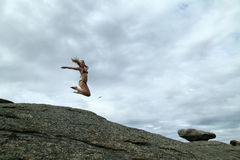 Jumping girl. With long hair Royalty Free Stock Photography