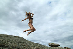 Jumping girl. With long hair Stock Image