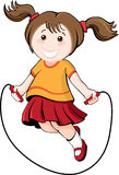 Jumping girl. Little girl in summer clothes jumping rope Royalty Free Stock Images