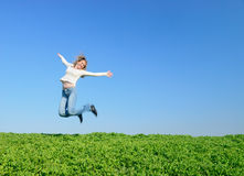 The jumping girl Royalty Free Stock Photography