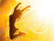 Jumping girl. Vector design of a woman jumping silhouette Royalty Free Stock Image