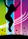 Jumping girl. Illustration of jumping girls on hot colors background Royalty Free Stock Image