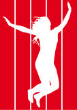 Jumping girl. Illustration of jumping girls on hot colors background Royalty Free Stock Photo