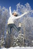 Jumping girl. Happy jumping girl relaxing outdoors Stock Images
