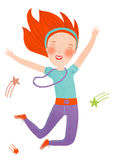 Jumping girl. Red-haired girl celebrating her Success Royalty Free Stock Photos