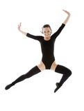 Jumping girl in black leotard Royalty Free Stock Photos