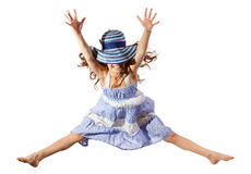 Jumping girl with hat Royalty Free Stock Photography