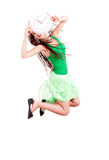 Jumping girl with clock Royalty Free Stock Photo