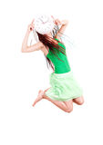 Jumping girl with clock Royalty Free Stock Photos