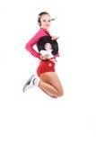 Jumping girl DJ Stock Images