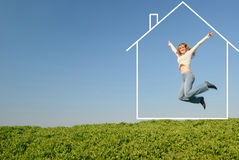 The jumping girl in dream house Royalty Free Stock Images