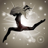 Jumping Girl with Gold reflections. Silhouette of Jumping Girl with Gold reflections Stock Photos
