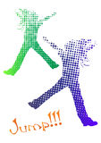 Jumping girl halftone silhouettes Royalty Free Stock Image