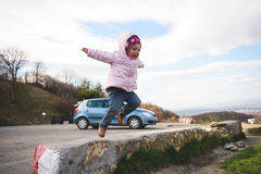 Jumping Girl. Jumping happy girl in street Stock Images