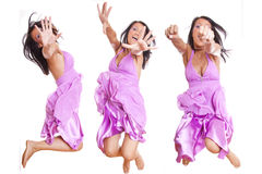Jumping Girl Hiding Face Royalty Free Stock Images