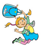 Jumping girl holding school bag. Girl holding school bag,jumping child,cartoon image isolated on white background,children illustration,vector picture Royalty Free Stock Photos