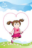 Jumping girl in love Royalty Free Stock Photo