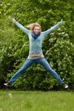 Jumping girl outdoor Royalty Free Stock Photography