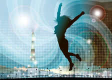 Jumping girl in Paris Stock Image