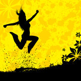 Jumping girl silhouette Stock Photo