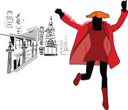 Jumping girl at the street. Jumping girl in red coat at the street Royalty Free Stock Photos