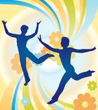 Jumping girl vector Royalty Free Stock Images
