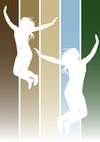 Jumping girls 1. Illustration of jumping girls on earth colors background Royalty Free Stock Images
