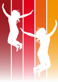Jumping girls 1. Illustration of jumping girls on hot colors background Stock Photos