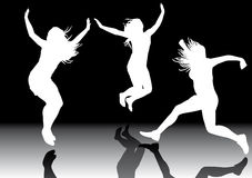 Jumping girls 3. Illustration of jumping girls on hot colors background Stock Images