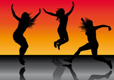 Jumping girls 5. Illustration of jumping girls on sunset background Stock Photo