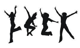 Jumping girls. Abstract  illustration of jumping girls Royalty Free Stock Photos