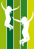 Jumping girls. Illustration of jumping girls on green colors background Royalty Free Stock Photo