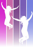 Jumping girls. Illustration of jumping girls on violet and blue colors background Royalty Free Stock Photos
