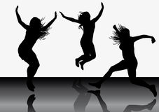 Jumping girls 6. Illustration of jumping girls on white background Royalty Free Stock Photo