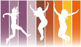 Jumping girls 7. Illustration of jumping girls on colors background Stock Photo