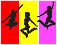 Jumping girls. Vector illustration of three jumping girls Stock Image