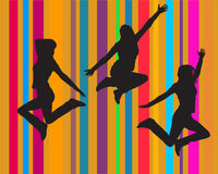 Jumping girls. Vector illustration of three jumping girls Royalty Free Stock Photo