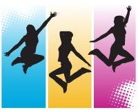 Jumping girls. Vector illustration of jumping girls Stock Images