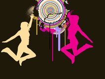 Jumping girls on abstract background. Vector illustration of two jumping girls and abstract elements Royalty Free Stock Images